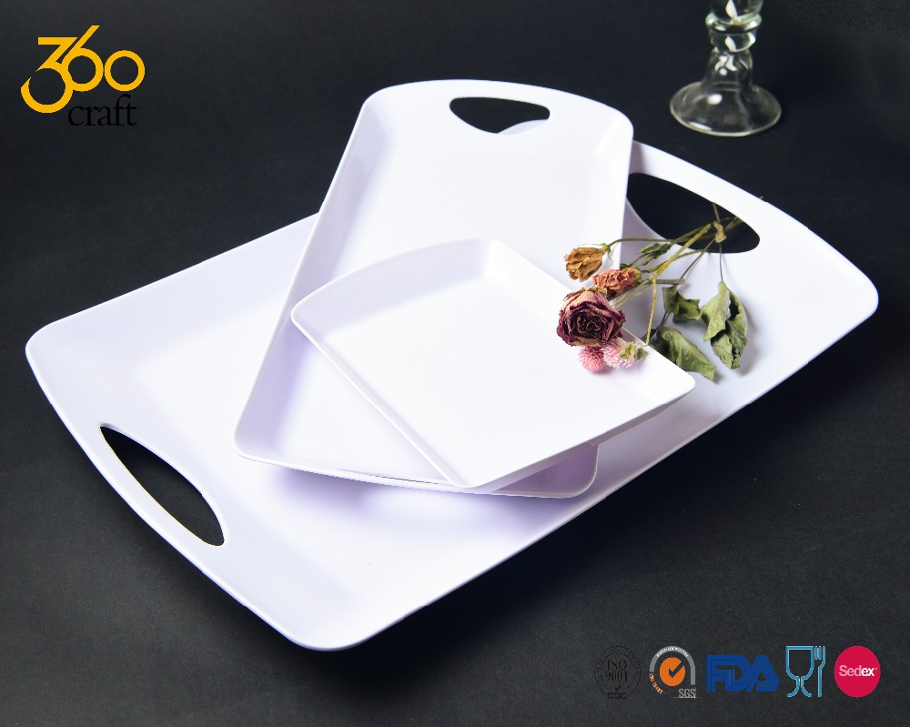 Large White Rectangular Melamine Plastic Serving Tray For Food By 360CRAFT