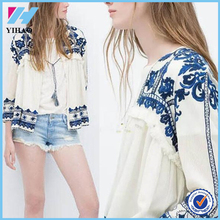 2015 Hot Sale Sexy Women Vintage Retro Ethnic Fashion Jacket Women Embroidered Blue and White Flower Print Loose Casual Jacket