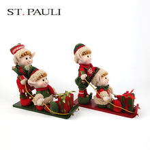china factory 12 inch stuffed elf craft wood christmas sleigh indoor decoration for sale