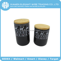 Personalized handmade cheap ceramic cylinder candy store containers with sealing lid