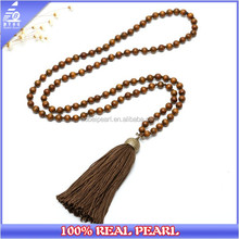 100 CM Long Round Wood Beads Tassel Pendant Necklace for Women Handmade Customized