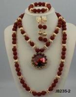 JB235-2 fashion design red and gold color ladies evening beads jewelry set