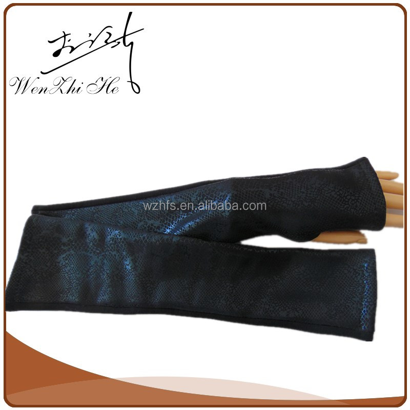 China Wholesale Long Elbow Length Leather Gloves Cut Finger