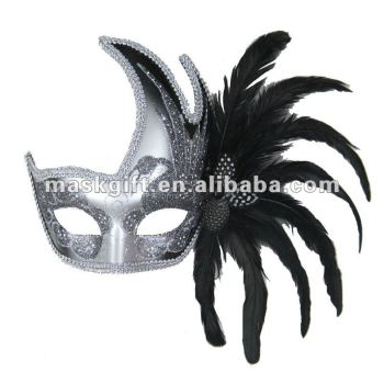 Black & Silver Carnival Feather Mask, birthday party mask