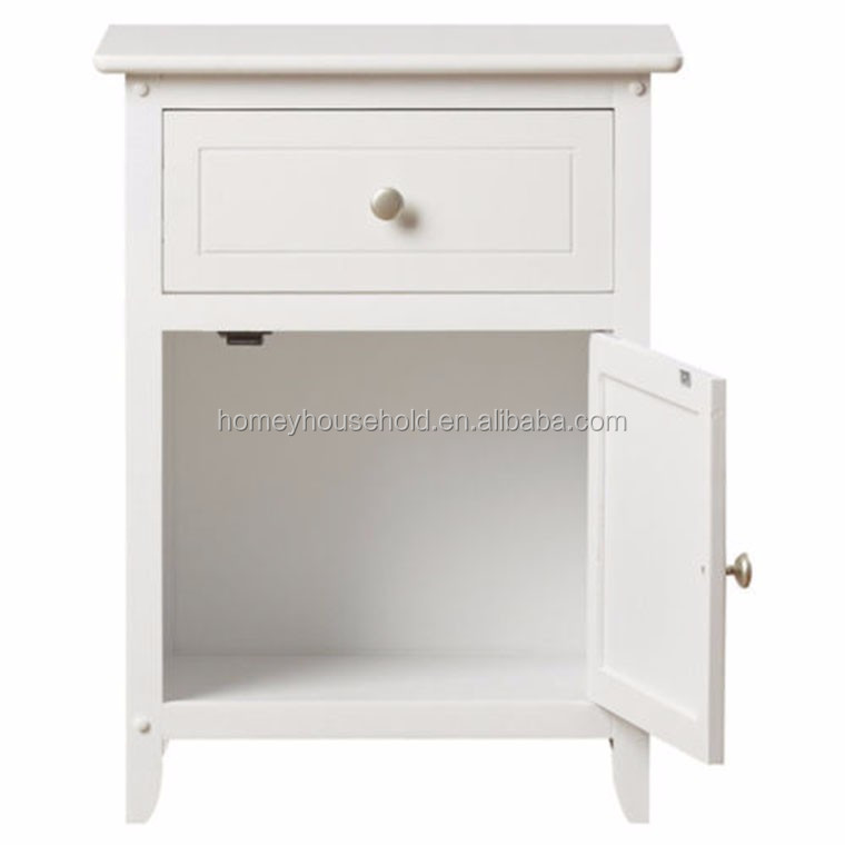 Storage Wood White 1 Drawer Shelf Nightstand Bedside End TV Stand Table