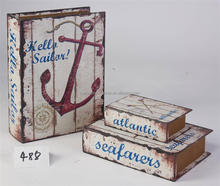 3 Piece Set Anchor wooden faux book box decorative book box