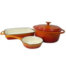 Porcelain Enamel Nonstick 4 piece orange cast iron cookware set