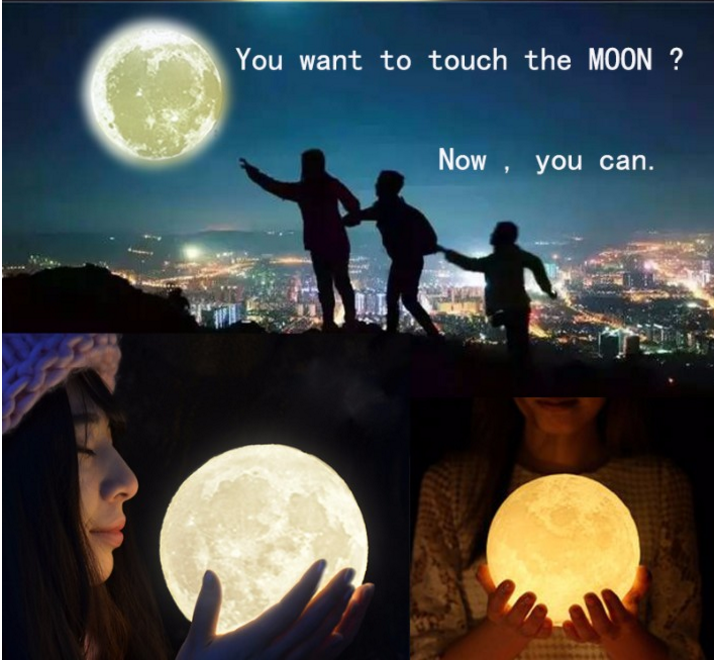 2017 Christmas Gift 3 Color moon Night Light LED 3D Printing Moon Lamp with USB Charging Home Decor