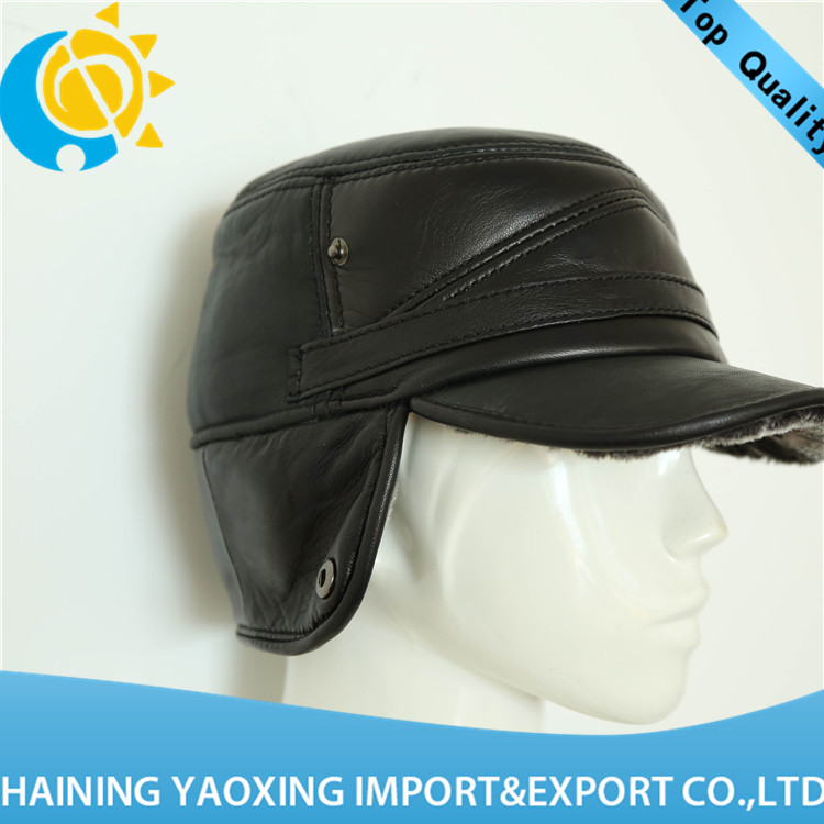 High quality sheep skin leather hat no minimum <strong>manufacturer</strong>