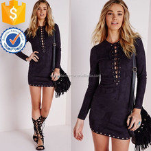 Wholesale women long sleeve short midi eyelet detail faux suede bodycon black dress