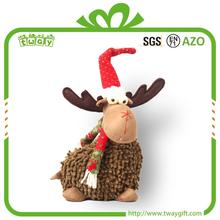"10"" Perfect handicraft red hat brown cute plush sitting reindeer decoration handmade Christmas deer"