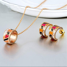 Free High Quality Womens Jewelry Gold 18K Enamel Stainless Steel Sets