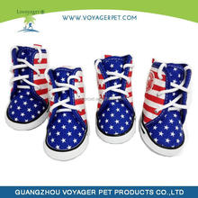 Lovoayger pet accessories canvas season dog boots American flag canvas dog shoes