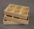 Cheap sales Unfinished pine wood trays with 9 compartments for collection of dry items