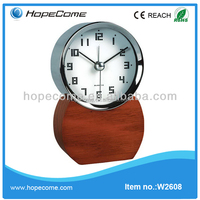(W2608) wooden retro alarm deluxe antique table clock for hotel and in house
