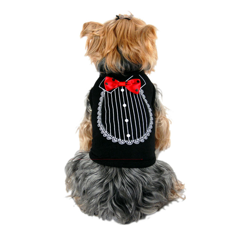 Dog Formal Tuxedo T-shirts Pet Wedding Costume