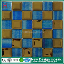 pure blue mix golden mirror glass mesh mounted mosaic tiles 48x48mm