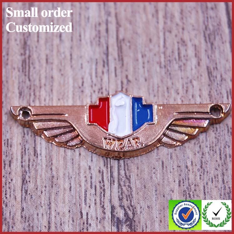Personalized high quality custom wing shape metal tag pin