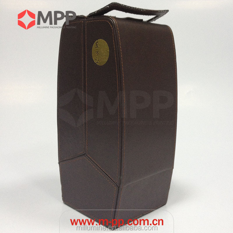 Small creative packaging bag custom box leather wine carrier