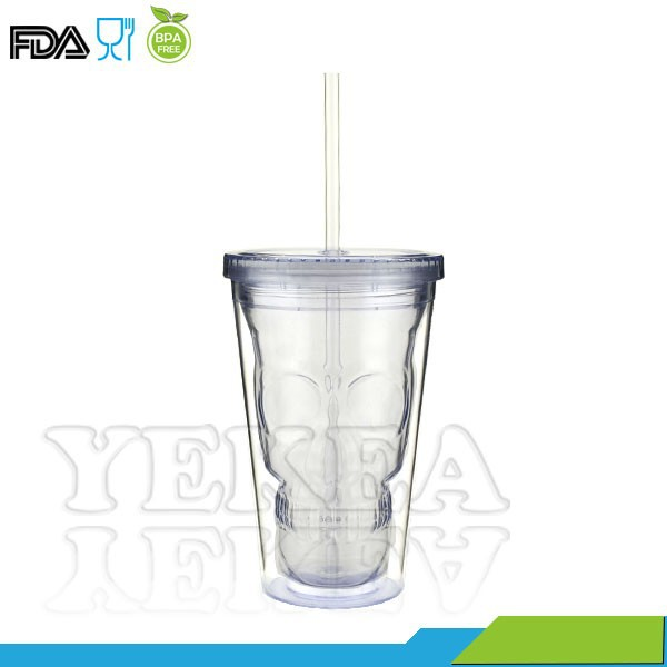 Superise !!! 16oz double wall 3D Skull face tumbler with straw