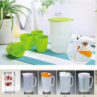 Competitive Factory Price BPA-free Eco-friendly plastic cold water drinking pitcher with 4 cups