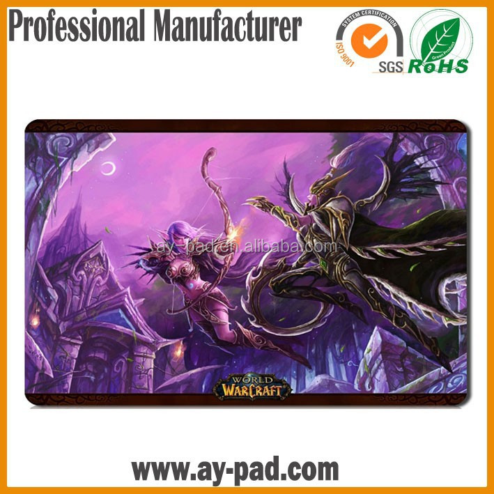 AY WORLD of WARCRAFT Sublimation Printing Play Yugioh Card Game MTG Playmat Custom Rubber Game Mat, Trade Assurance Playmat