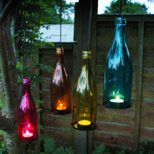 4PCS Lifelike LED Wine Bottle Lights with Flameless Candle hanging glass tea light candle holder