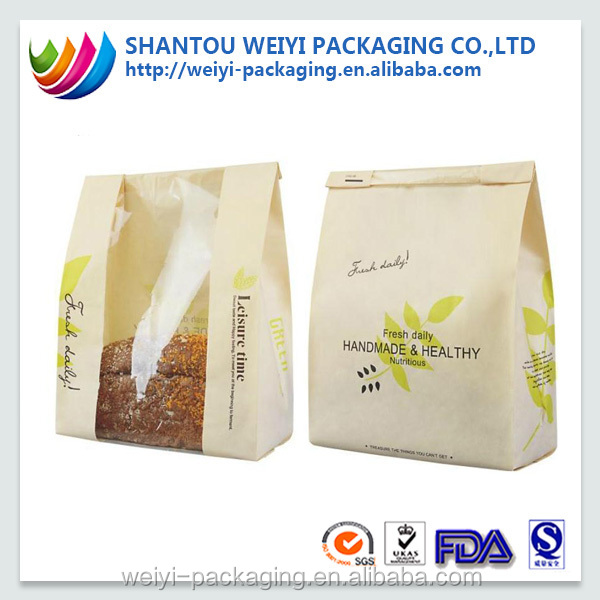 Hot selling oil proof frozen bread packaging paper bag