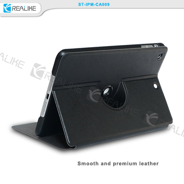 For ipad mini 3pu leather case, 360 degree rotatory tablet case for ipad mini 3