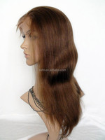 INDIAN REMY HAIR YAKI BROWN FRONT LACE WIGS 14 INCH COLOR #4
