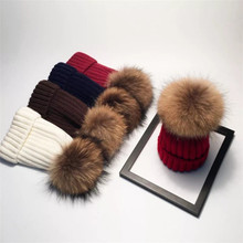 High quality winter knit hat with raccoon fur ball on the top Fax fur pom pom custom winter hats plain beanie hat