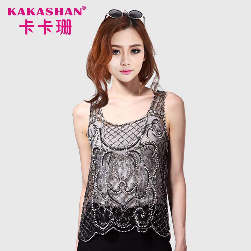 Fancy Crocheting Vest Ladies Fashion Evening Wear Women Sequins Beaded Tops