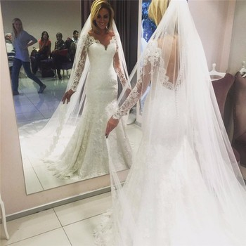 LL089 Beauteous Ivory Mermaid Wedding Gowns V-Neck Long Sleeve Bridal Dresses Lace Backless Floor Length China Wedding Dresses