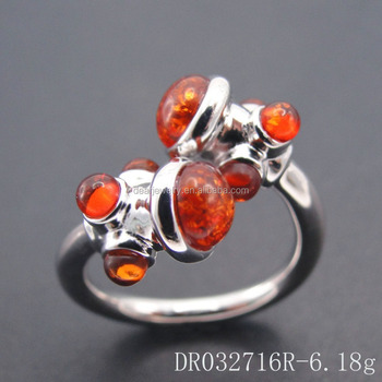 New styles 925 Silver Semi- Precious Stone Resin Amber Stone Open Ring DR032716R