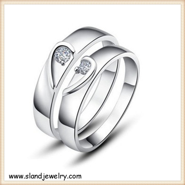 pave cz half heart discount sterling silver rings - Engagement 0.925 silver love finger ring jewellery sets