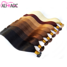 "9A Flat Tip Hair Pre Bonded Platinum Blonde Straight Hair On Capsules Keratin Hair Extension 100G 22""24"" Factory Outlet"