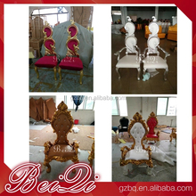 China made high back low price solid wood carved king queen chairs for manicure