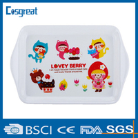 large plastic melamine tray with handle