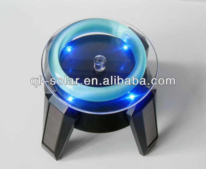 Solar Powered Jewelry Phone Rotating Display Stand with LED Light