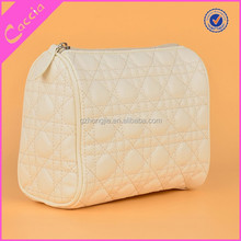 Wholesale PU leather quilted white cosmetic bag make up bag
