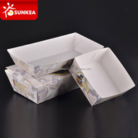 Biodegradable disposable white hot dog paper food trays