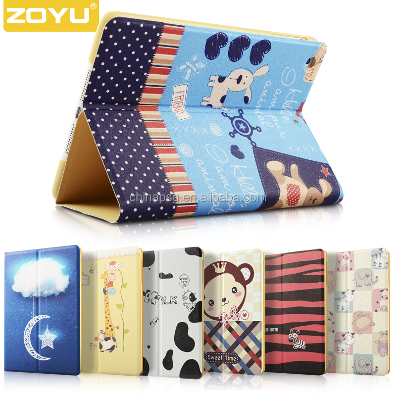 Shock Absorbing Kid-proof Universal Fashionable Origami pu Leather Kids Color print pu leather case for apple Ipad mini4