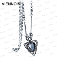 2015 new silver plated fashion jewelry geometric Long pendant necklace crystal rhinestones female accessories