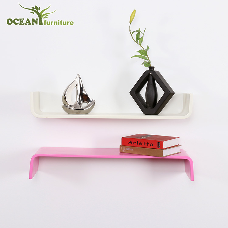 creative design U shape wooden storage rack wall shelf