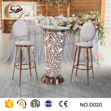 led furniture outdoor round high glass top bar table