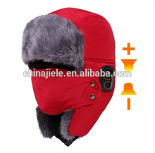 Brand new ladies fur trapper hat and earmuff warm fashion knitted animal earmuffs winter ear flap hat trooper with high quality