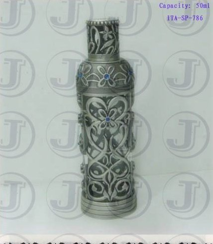 Royal Classical Antique Silver Surface Color Perfume Oil Bottle with Pretty Sapphire Jewelry on the Cap and Bottle
