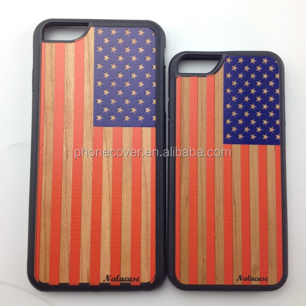 Wholesale Price USA flag style wood phone case for iphone6s,tpu/pc phone case