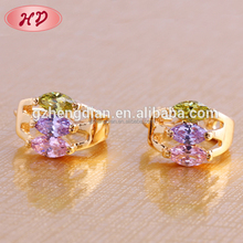 China wholesale supplier new fashion jhumka style indian jewelry 18K gold plated zircon earrings jewellery for womens design