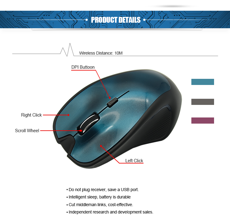 Built in rechargeable battery optical wireless mouse for Android Tablet